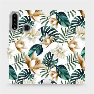 Flipové pouzdro Mobiwear na mobil Samsung Galaxy A20S - MC07P Zlatavé květy a zelené listy