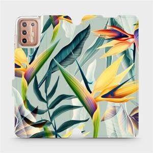 Flipové pouzdro Mobiwear na mobil Motorola Moto G9 Plus - MC02S Žluté velké květy a zelené listy
