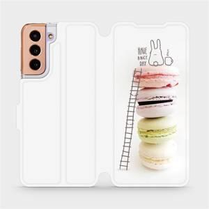 Flipové pouzdro Mobiwear na mobil Samsung Galaxy S21 5G - M090P Makronky - have a nice day