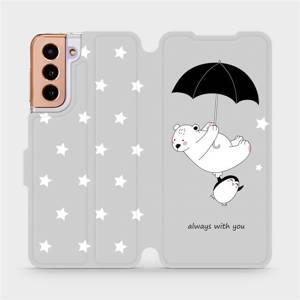 Parádní flip pouzdro Mobiwear na mobil Samsung Galaxy S21 5G - MH08P Méďa a tučňák - always with you