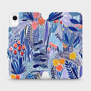 Flip pouzdro Mobiwear na mobil Apple iPhone XR - MP03P Modrá květena
