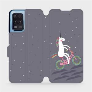Flip pouzdro Mobiwear na mobil Realme 8 5G - V024P Jednorožec na kole