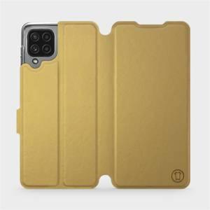 Flip pouzdro Mobiwear na mobil Samsung Galaxy M22 v provedení C_GOS Gold&Gray s šedým vnitřkem