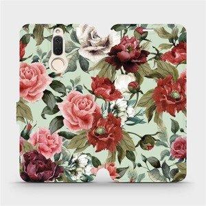 Flipové pouzdro Mobiwear na mobil Huawei Mate 10 Lite - MD06P Růže a květy na světle zeleném pozadí