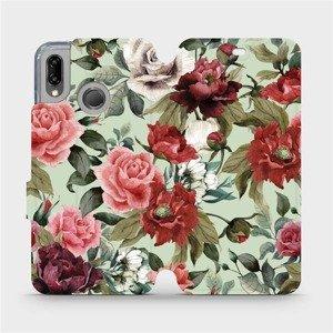 Flipové pouzdro Mobiwear na mobil Huawei P20 Lite - MD06P Růže a květy na světle zeleném pozadí