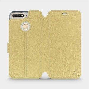 Flipové pouzdro Mobiwear na mobil Honor 7A v provedení C_GOS Gold&Gray s šedým vnitřkem