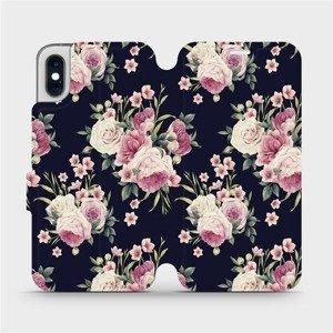 Flipové pouzdro Mobiwear na mobil Apple iPhone XS - V068P Růžičky