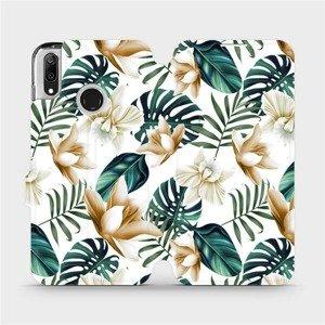 Flipové pouzdro Mobiwear na mobil Huawei Y7 2019 - MC07P Zlatavé květy a zelené listy