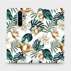 Flipové pouzdro Mobiwear na mobil Xiaomi Redmi Note 8 Pro - MC07P Zlatavé květy a zelené listy