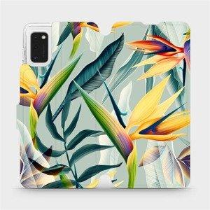 Flipové pouzdro Mobiwear na mobil Samsung Galaxy A41 - MC02S Žluté velké květy a zelené listy