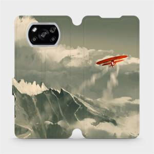 Flipové pouzdro Mobiwear na mobil Xiaomi POCO X3 NFC - MA03P Oranžové letadlo v horách