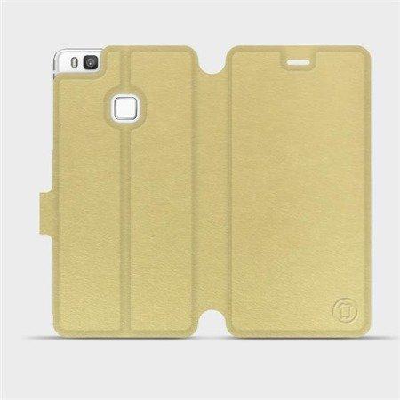 Parádní flip pouzdro Mobiwear na mobil Huawei P9 Lite v provedení C_GOS Gold&Gray s šedým vnitřkem