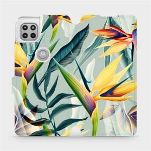 Flipové pouzdro Mobiwear na mobil Motorola Moto G 5G - MC02S Žluté velké květy a zelené listy