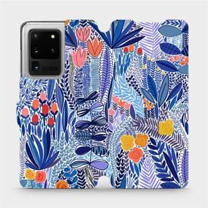 Flip pouzdro Mobiwear na mobil Samsung Galaxy S20 Ultra - MP03P Modrá květena