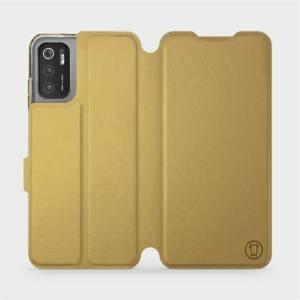 Flip pouzdro Mobiwear na mobil Xiaomi Poco M3 Pro 5G v provedení C_GOP Gold&Orange s oranžovým vnitřkem