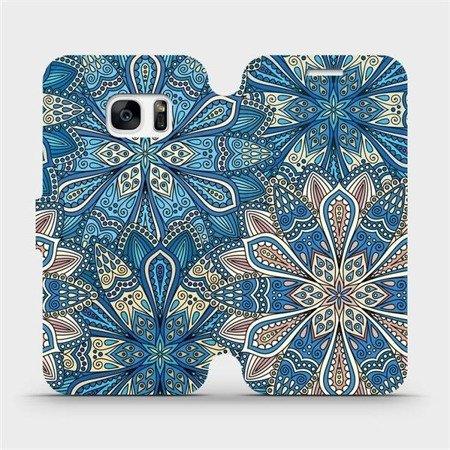 Flipové pouzdro Mobiwear na mobil Samsung Galaxy S7 Edge - V108P Modré mandala květy