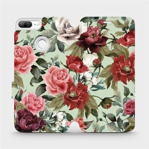 Flipové pouzdro Mobiwear na mobil Honor 9 Lite - MD06P Růže a květy na světle zeleném pozadí