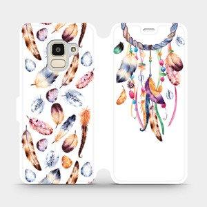 Flipové pouzdro Mobiwear na mobil Samsung Galaxy J6 2018 - M003S Lapač a barevná pírka