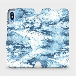 Flipové pouzdro Mobiwear na mobil Huawei Y6 2019 - M058S Světle modrá horizontální pírka