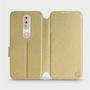 Flipové pouzdro Mobiwear na mobil Nokia 4.2 v provedení C_GOS Gold&Gray s šedým vnitřkem