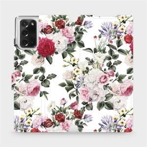 Flipové pouzdro Mobiwear na mobil Samsung Galaxy Note 20 - MD01S Růže na bílé