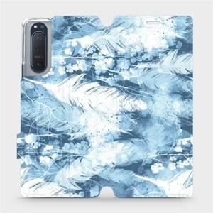 Flipové pouzdro Mobiwear na mobil Sony Xperia 5 II - M058S Světle modrá horizontální pírka