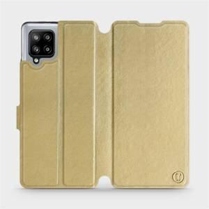 Flipové pouzdro Mobiwear na mobil Samsung Galaxy A42 5G v provedení C_GOP Gold&Orange s oranžovým vnitřkem