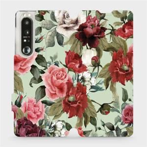 Flip pouzdro Mobiwear na mobil Sony Xperia 1 III - MD06P Růže a květy na světle zeleném pozadí