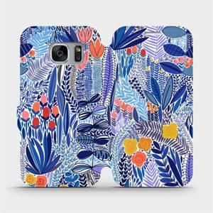 Flip pouzdro Mobiwear na mobil Samsung Galaxy S7 Edge - MP03P Modrá květena