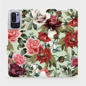 Flip pouzdro Mobiwear na mobil Xiaomi Redmi Note 10 5G - MD06P Růže a květy na světle zeleném pozadí