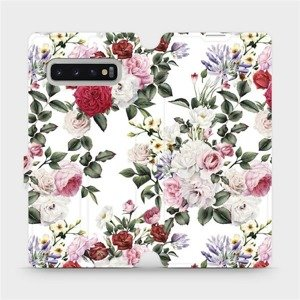 Flipové pouzdro Mobiwear na mobil Samsung Galaxy S10 Plus - MD01S Růže na bílé