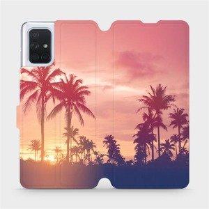 Flipové pouzdro Mobiwear na mobil Samsung Galaxy A71 - M134P Palmy a růžová obloha