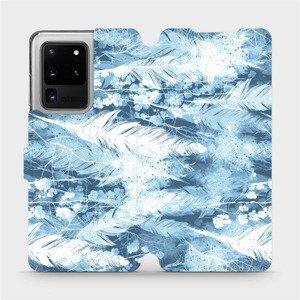 Flipové pouzdro Mobiwear na mobil Samsung Galaxy S20 Ultra - M058S Světle modrá horizontální pírka