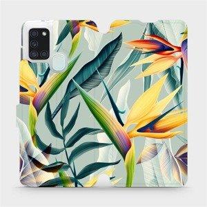 Flipové pouzdro Mobiwear na mobil Samsung Galaxy A21S - MC02S Žluté velké květy a zelené listy