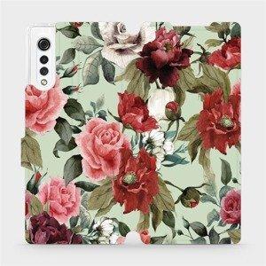 Flipové pouzdro Mobiwear na mobil LG Velvet - MD06P Růže a květy na světle zeleném pozadí