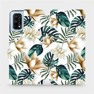 Flipové pouzdro Mobiwear na mobil Realme 7 Pro - MC07P Zlatavé květy a zelené listy
