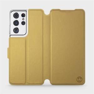 Flipové pouzdro Mobiwear na mobil Samsung Galaxy S21 Ultra 5G v provedení C_GOP Gold&Orange s oranžovým vnitřkem
