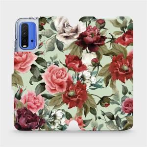 Flipové pouzdro Mobiwear na mobil Xiaomi Redmi 9T - MD06P Růže a květy na světle zeleném pozadí
