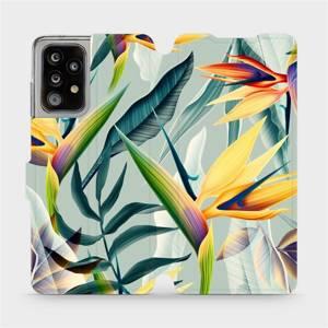 Flipové pouzdro Mobiwear na mobil Samsung Galaxy A52 5G / LTE - MC02S Žluté velké květy a zelené listy