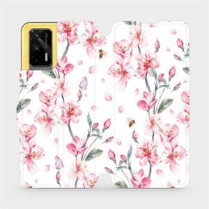 Flipové pouzdro Mobiwear na mobil Realme GT 5G - M124S Růžové květy