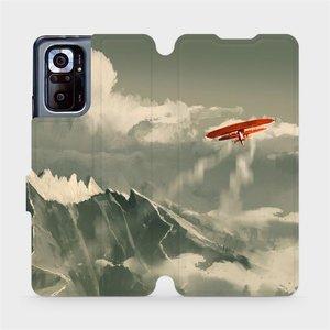 Flipové pouzdro Mobiwear na mobil Xiaomi Redmi Note 10 Pro - MA03P Oranžové letadlo v horách