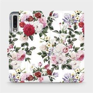 Flipové pouzdro Mobiwear na mobil Samsung Galaxy A7 2018 - MD01S Růže na bílé