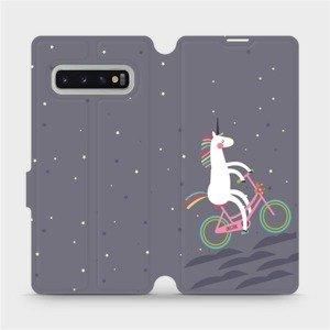 Flipové pouzdro Mobiwear na mobil Samsung Galaxy S10 Plus - V024P Jednorožec na kole
