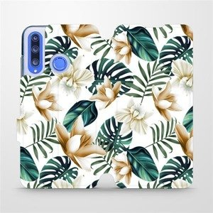 Flipové pouzdro Mobiwear na mobil Honor 20 Lite - MC07P Zlatavé květy a zelené listy
