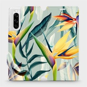 Flipové pouzdro Mobiwear na mobil Sony Xperia 5 - MC02S Žluté velké květy a zelené listy