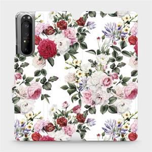 Flipové pouzdro Mobiwear na mobil Sony Xperia 1 II - MD01S Růže na bílé