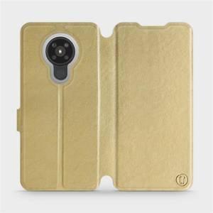Flipové pouzdro Mobiwear na mobil Nokia 5.3 v provedení C_GOS Gold&Gray s šedým vnitřkem