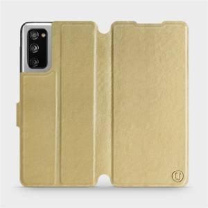Flipové pouzdro Mobiwear na mobil Samsung Galaxy S20 FE v provedení C_GOP Gold&Orange s oranžovým vnitřkem