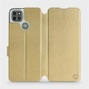 Flipové pouzdro Mobiwear na mobil Motorola Moto G9 Power v provedení C_GOS Gold&Gray s šedým vnitřkem