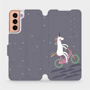 Flipové pouzdro Mobiwear na mobil Samsung Galaxy S21 5G - V024P Jednorožec na kole